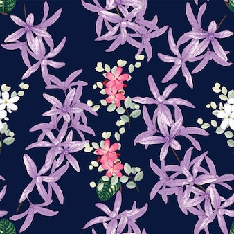 Seamless pattern petrea volubilis and wild flowers