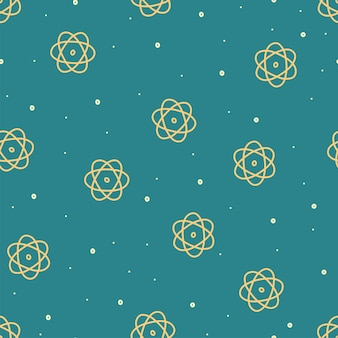 Seamless pattern on physics topic hand drawn atom in doodle style