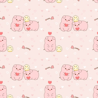 Seamless pattern pig and chick