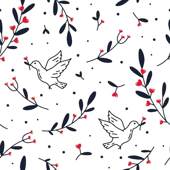 Seamless pattern of pigeon with flowers and hearts
