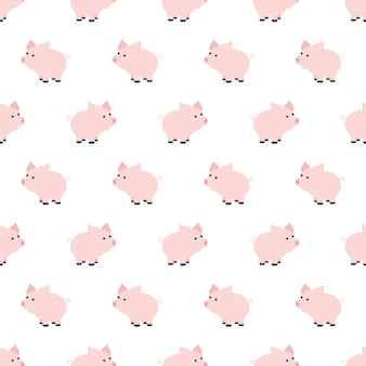 Seamless pattern, piggy art background design for fabric and decor. cartoon style. childrens doodle. babyhood. newborn. vector illustration and element for your design, wallpaper. zoo. kids. farm.