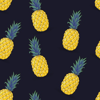 Seamless pattern of pineapple on dark blue