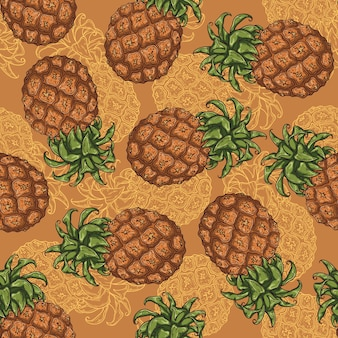 Seamless pattern of pineapple in sketch style.