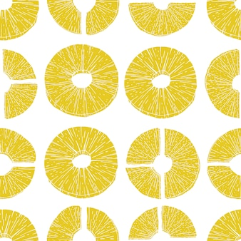 Seamless pattern pineapple slices. vector illustration pineapple in old ink style. for brochures, banner, restaurant menu and market