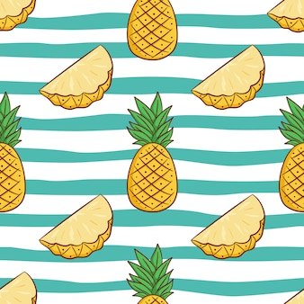 Seamless pattern of pineapple for summer concept with doodle style
