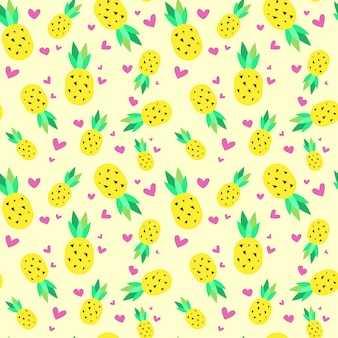 Seamless pattern pineapple tropical summer ornament background