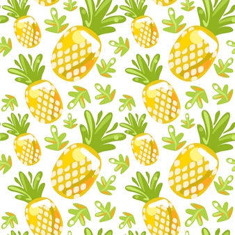 Seamless pattern of pineapples