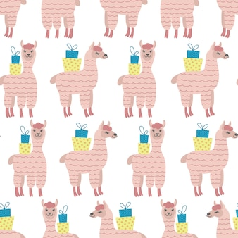 Seamless pattern of pink alpacas with gift boxes on white background. ideal for baby cloth, wallpaper, wrapping paper, home decor.