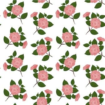 Seamless pattern pink camellia