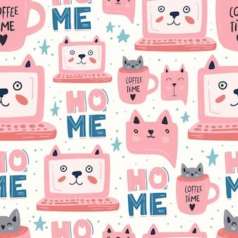 Бесшовный фон розовый кот