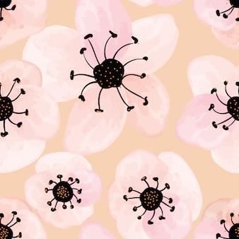 원활한 패턴 핑크 벚꽃 꽃 배경입니다.