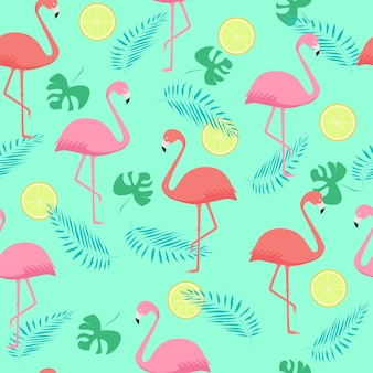 Seamless pattern of pink and coral flamingos and palm leaves
