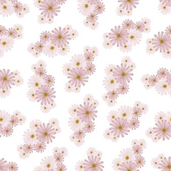 Seamless pattern of pink daisy petal