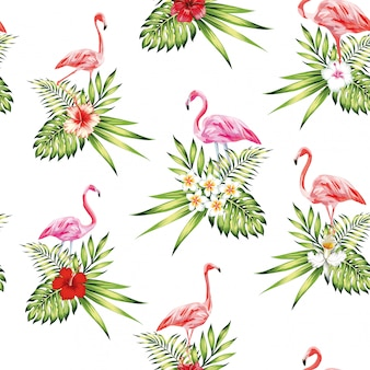 Seamless pattern pink flamingo with flowers and plants