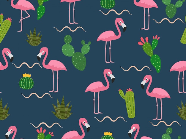 Seamless pattern of pink flamingo with tropical cactus