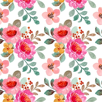 Seamless pattern of pink floral watercolor