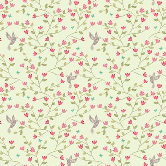 Seamless pattern pink flower and little bird