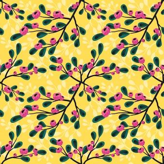노란색 bg에 원활한 패턴 핑크 꽃