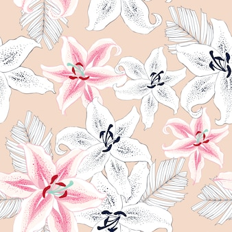 Seamless pattern pink flowers abstract background.