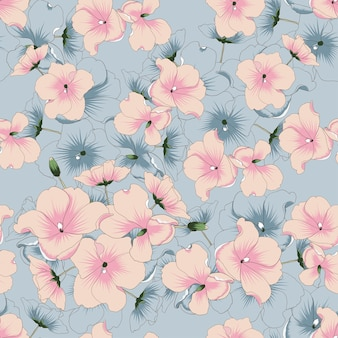 Seamless pattern pink flowers background.