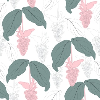 Seamless pattern pink flowers vintage abstract background.  hand drawing line art.