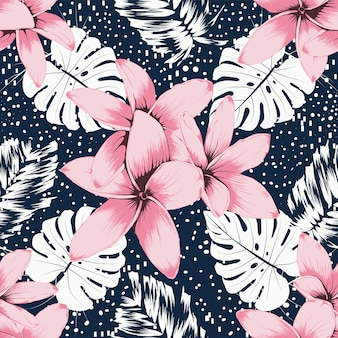 シームレスパターンピンクフランジパニの花とモンステラの葉