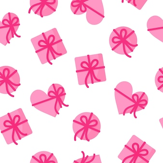 Seamless pattern of pink gifts of different shapes with a ribbon