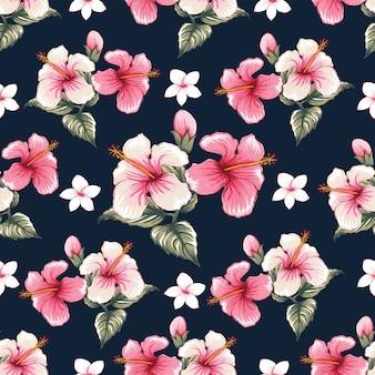 Seamless pattern pink hibiscus