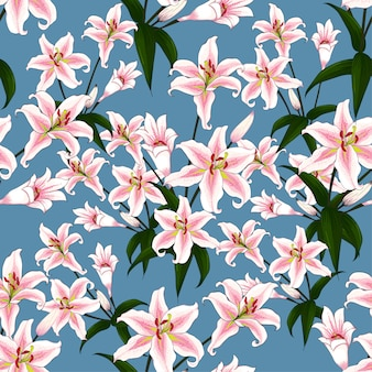 Seamless pattern pink lilly flowers on blue background.