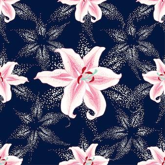 Seamless pattern pink lilly flowers on dark blue