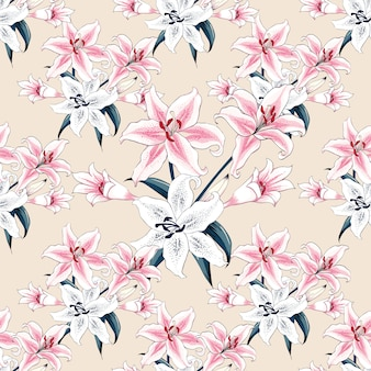 Seamless pattern pink lilly flowers pastel background.