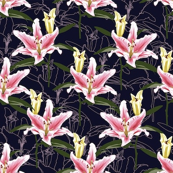 Seamless pattern pink lilly flowers