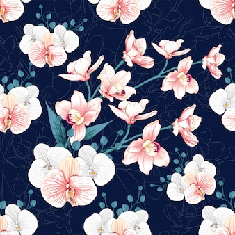 Seamless pattern pink orchid flowers abstract background.