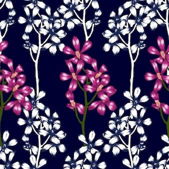 シームレスパターンピンクの蘭の花