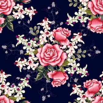 シームレスパターンピンクの蘭、赤いバラの花