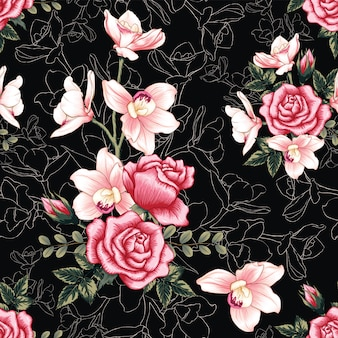 Seamless pattern pink orchid and rose flowers abstract background.