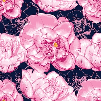 Seamless pattern pink paeonia flowers abstract background.  hand drawing.