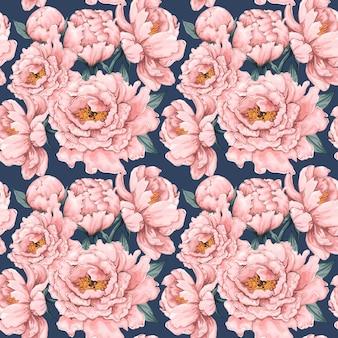 Seamless pattern pink paeonia vintage flowers background