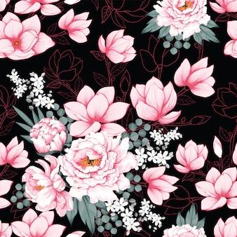 Seamless pattern pink paeonia vintage
