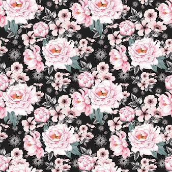 Seamless pattern pink paeonia