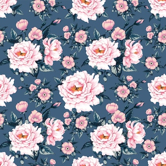 Seamless pattern pink pastel color paeonia