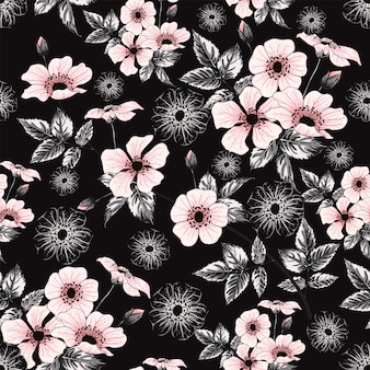 Seamless pattern pink pastel color wild rose flowers, hand drawing