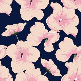 Seamless pattern pink pastel flowers.