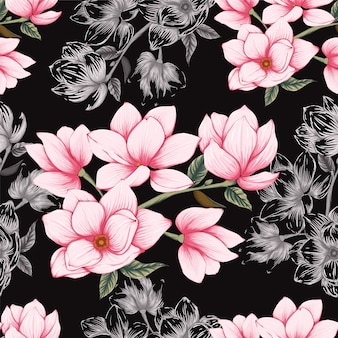 Seamless pattern pink pastel magnolia flowers background.