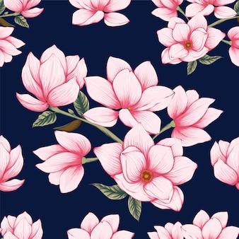 Seamless pattern pink pastel magnolia flowers background.
