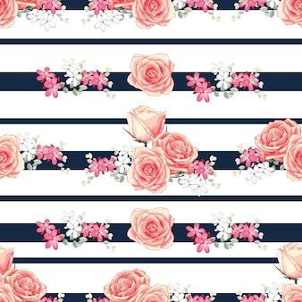 Seamless pattern pink pastel rose flowers.