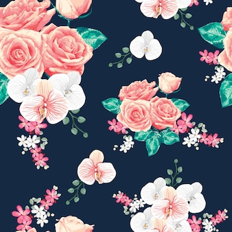 Seamless pattern pink pastel rose and orchid flowers.