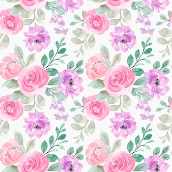 Seamless pattern of pink purple watercolor flowers