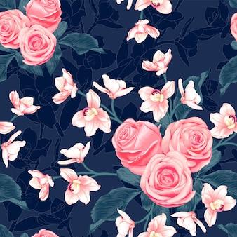 暗い青色の背景にシームレスパターンピンクのバラとピンクの蘭の花。イラスト描画水彩風。
