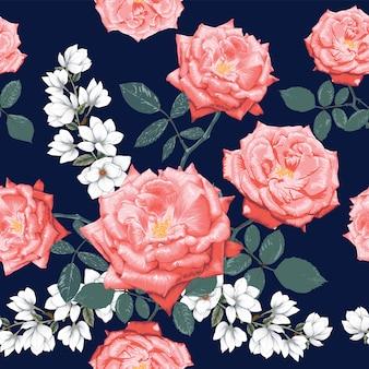シームレスなパターンのピンクのバラと白いモクレンの花